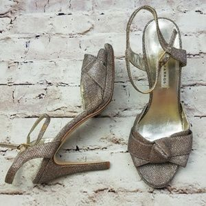 Caparros Champagne Strappy High Heels Open Toe 7.5